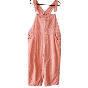 Vintage red and white striped overalls